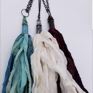 Jewelry - Boho Sari-Silk Necklace in Ivory